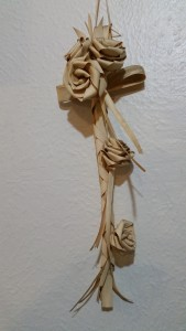 Palm leaf cross and roses